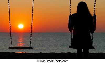 coucher soleil, girl, silhouette, oscillation