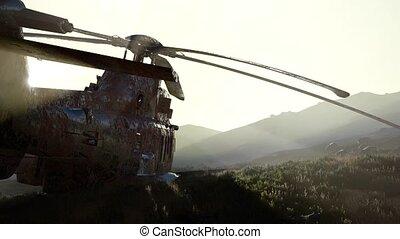coucher soleil, hélicoptère, désert, vieux, militaire, rouillé