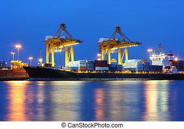 coucher soleil, industriel, port, expédition, thaïlande, bangkok