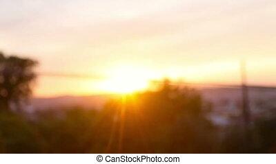 coucher soleil, jet, atterrissage