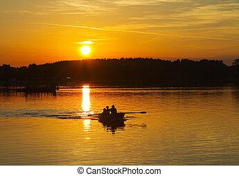 coucher soleil, lac, bateau