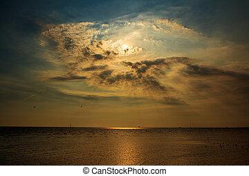 coucher soleil, levers de soleil, /, fond, nuages