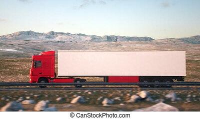 coucher soleil, long, camions, conduite, route, camion, mov, semi-remorque, désert, semitruck, 050, 190709, cargaison, 4k