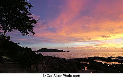 coucher soleil, mer, paysage, été