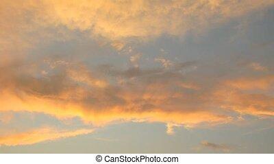 coucher soleil, mouvement, nuages, sky.
