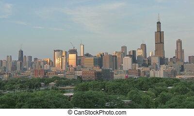 coucher soleil or, chicago, horizon