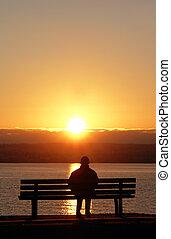 coucher soleil, paisible