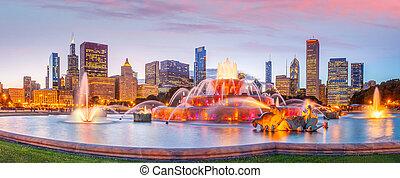 coucher soleil, panorama, horizon, chicago, gratte-ciel