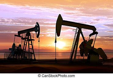 coucher soleil, pompes huile