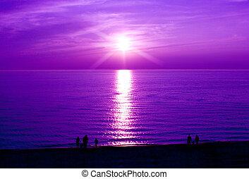 coucher soleil pourpre
