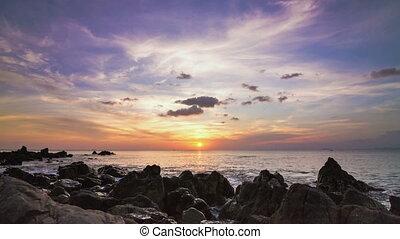coucher soleil, rivage, défaillance, temps, moule, mer, rocher