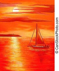 coucher soleil, rouges