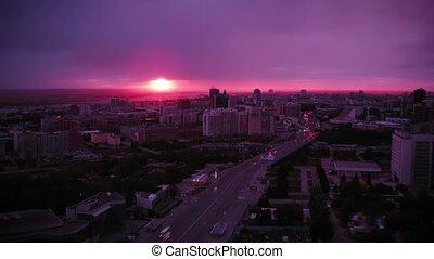 coucher soleil, russie, novosibirsk