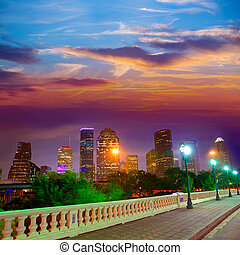 coucher soleil, sabine, rue, usa, horizon, houston, texas