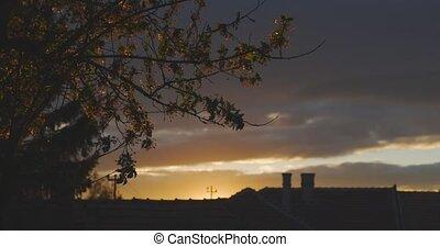 coucher soleil, scène, ciel, dramatique, suburbain