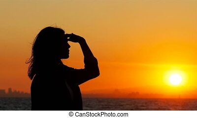 coucher soleil, scoutisme, femme, silhouette