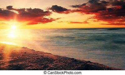 coucher soleil, sea., mer, lent, vagues, motion.