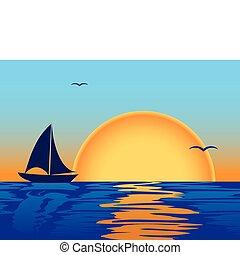 coucher soleil, silhouette, mer, bateau