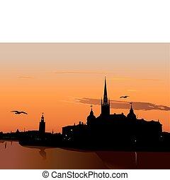 coucher soleil, silhouette, stockholm