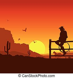 coucher soleil, soir, sauvage, ouest américain, paysage, cow-boy
