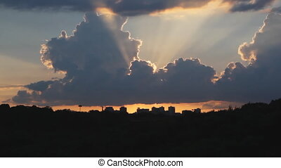 coucher soleil, sur, city., timelapse.