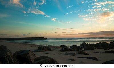 coucher soleil, timelapse, plage