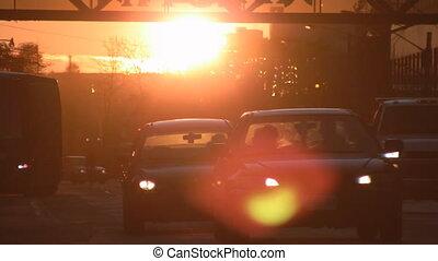 coucher soleil, traffic.