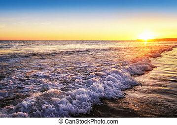 coucher soleil, tranquille, plage