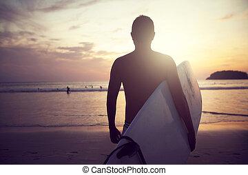 coucher soleil, unrecognized, surfeur