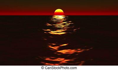 coucher soleil, voilà, beau, levers de soleil, &, océan