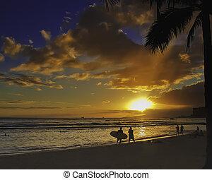 coucher soleil, waikiki plage