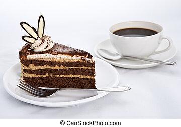 couches, café, trois, chocolat, gâteau chaud