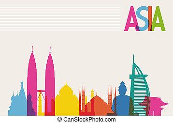 couches, couleurs, diversité, fichier, monuments, organisé, transparency., célèbre, editing., vecteur, facile, asie, repère