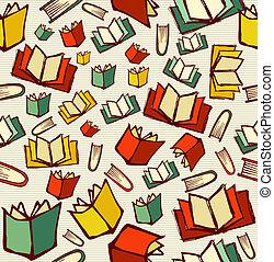 couches, croquis, vecteur, eps10, connaissance, concept, modèle, facile, organisé, dos, style, arrière-plan., editing., livres, seamless, fichier, école, dessiné, main ouverte