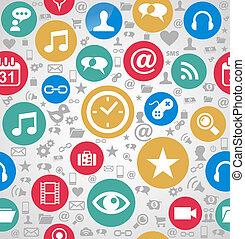 couches, eps10, facile, coloré, icônes, média, organisé, seamless, arrière-plan., editing., vecteur, fichier, social, modèle