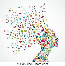 couches, tête, concept, silhouette, illustration., eps10, icônes, média, organisé, vecteur, editing., femme, facile, social, fichier, fait, éclaboussure