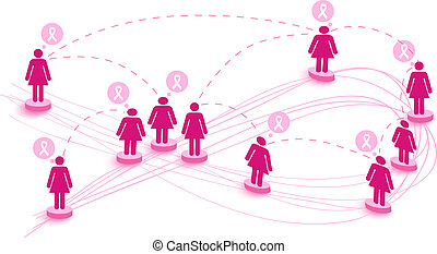 couches, transparence, concept, eps10, facile, cancer, média, sur, organisé, editing., vecteur, connecter, poitrine, fichier, social, mondiale, illustration., map., collaboration, conscience, femmes