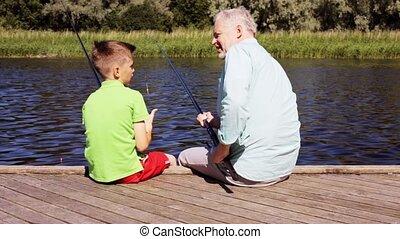couchette, 21, petit-fils, grand-père, peche, rivière