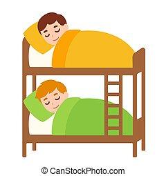 couchette, gosses, lit, dormir