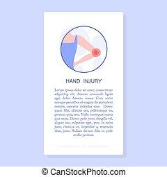 coude, injury., abîmer, avoir, trauma., femme, douloureux