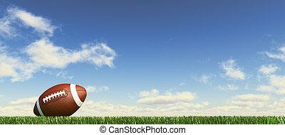 couds, arrière-plan., ciel, pelucheux, football, niveau, côté, herbe, panoramique, américain, vue, balle, format., terrestre