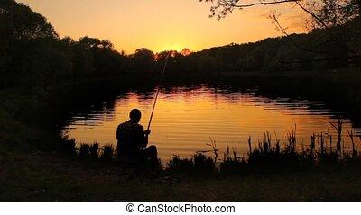 coulage, dos, pêcheur, étang, corder, ligne, appât, vue