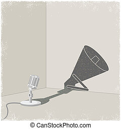 coulage, microphone, bullhorn, ombre