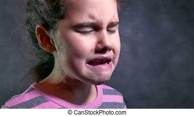 couler, girl, problème, adolescent, cris, larmes, chagrin