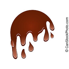 couler, isolé, chocolat, bas, fond, blanc, tache