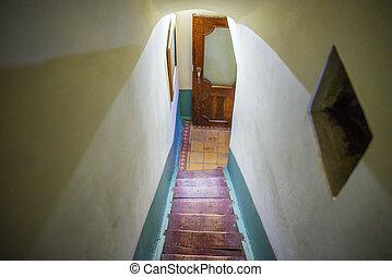 couleur, échelle, détail, beige, étroit, escalier, moquette