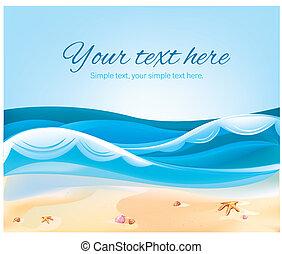 couleur, été, plage, illustration, océan