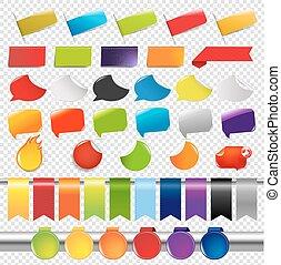 couleur, étiquettes, ensemble, autocollants, vente