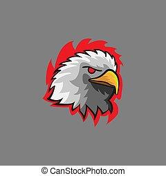 couleur, aigle, oiseau, mascotte, violent, e, logo, tête, moderne, américain, sport., figure, vecteur, illustration, eagle.fierce