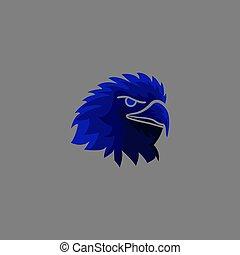 couleur, aigle, oiseau, mascotte, violent, logo, effrayant, illustration, américain, figure, vecteur, bleu, vicieux, eagle.fierce